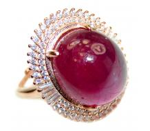 Large Genuine  Kashmir Ruby rose Gold over .925 Sterling Silver handcrafted  Statement Ring size 8 1/4