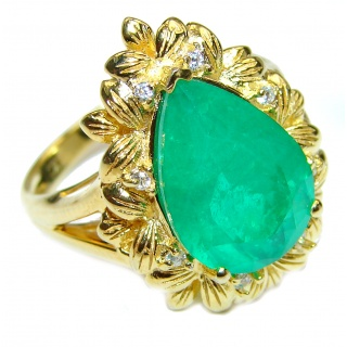 Vintage Style Natural Emerald 14K Gold over .925 Sterling Silver handcrafted Ring s. 7