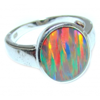 Australian Triplet Opal .925 Sterling Silver handcrafted ring size 6 3/4