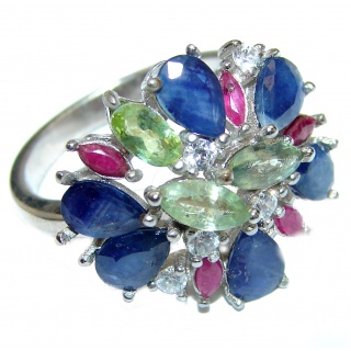 Huge Natural Green Sapphire Blue Sapphire .925 Sterling Silver Statement ring size 7 1/4