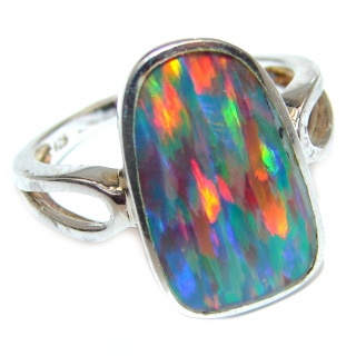 Australian Triplet Opal .925 Sterling Silver handcrafted ring size 7 1/4