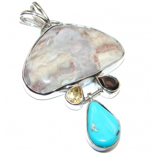 Huge Crazy Lace Agate .925 Sterling Silver handcrafted pendant