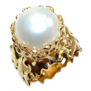 Large Fresh water Pearl 24K Gold over .925 Sterling Silver handcrafted Ring s. 5 3/4