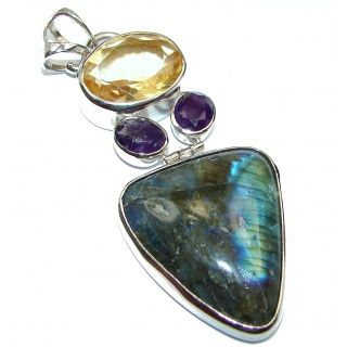 Huge Blue Fire Labradorite .925 Sterling Silver handcrafted Pendant