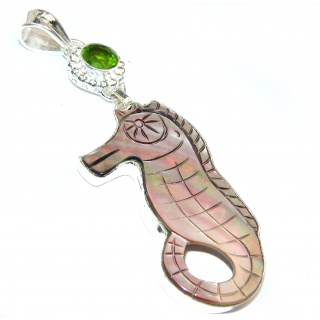 Shell Sea Horse .925 Sterling Silver handcrafted pendant