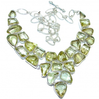 Large Golden Reef authentic Citrine .925 Sterling Silver handcrafted Statement necklace