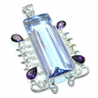 Large Purple quartz .925 Sterling Silver handcrafted pendant