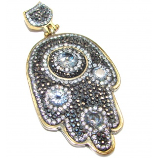 Protective Hamsa Hand Onyx & White Topaz .925 Sterling Silver Pendant