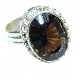 Authentic Smoky Quartz .925 Sterling Silver handcrafted ring s. 6 3/4