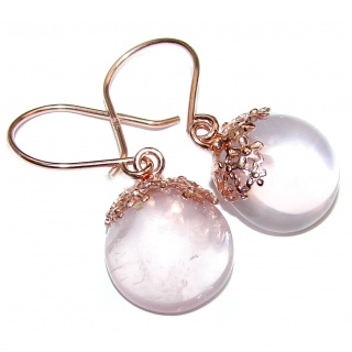 Large Authentic Juicy Rose Quartz 18K Gold over .925 Sterling Silver handmade earrings