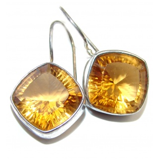 Perfect Golden Rutilated Quartz .925 Sterling Silver handmade earrings