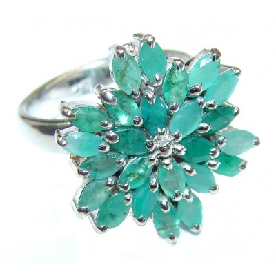 Genuine Emerald .925 Sterling Silver handcrafted ring size 8