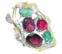Emily Large Genuine   Ruby Emerald  .925 Sterling Silver handcrafted  Statement Ring size 7
