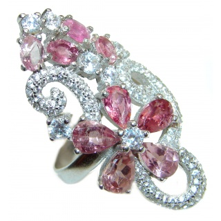 Natural Pink Tourmaline .925 Sterling Silver Statement ring size 7