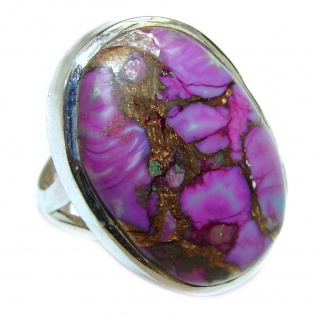 Huge Purple Turquoise .925 Sterling Silver handcrafted ring; s. 7 1/4