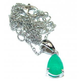 Spectacular Authentic Colombian 3ctw Emerald .925 Sterling Silver necklace