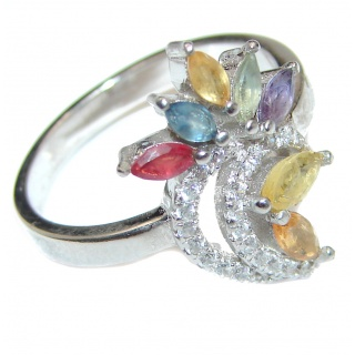 Natural Multicolor Sapphire .925 Sterling Silver Statement ring size 7 1/4