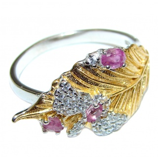 Genuine Ruby 18K Gold .925 Sterling Silver handcrafted Statement Ring size 9
