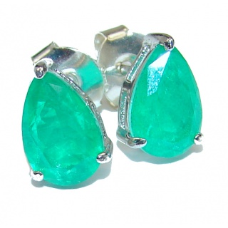 Fancy Style Emerald .925 Sterling Silver earrings
