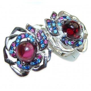 Authentic Ruby Tanzanite .925 Sterling Silver handmade earrings
