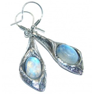 Large Fire Moonstone .925 Sterling Silver handcrafted earrings