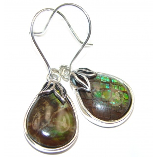 Green Aura Fire Ammolite .925 Sterling Silver handcrafted earrings