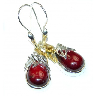 Rustic Design authentic Garnet 18K Gold over .925 Sterling Silver handcrafted earrings