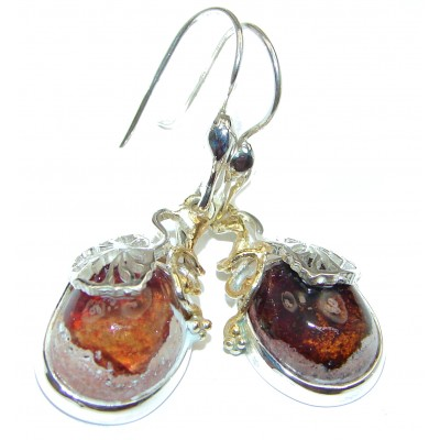 Rustic Design authentic Mexican Fire Opal 14K Gold over .925 Sterling Silver handcrafted earrings