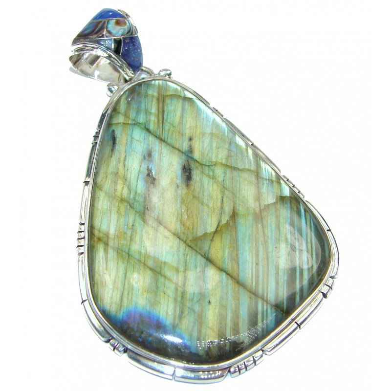 MASSIVE Vinatge Beauty Fire Labradorite .925 Sterling Silver handcrafted Pendant