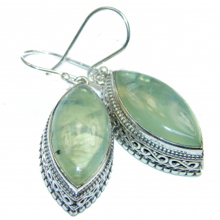 HUGE Authentic Moss Prehnite .925 Sterling Silver handmade earrings