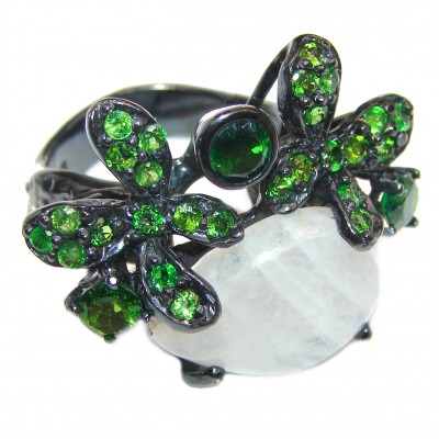 Rainbow Moonstone Chrome Diopside black rhodium over .925 Sterling Silver handmade Ring size 8