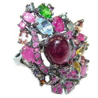 Gabriella Large Genuine Ruby black rhodium over .925 Sterling Silver handcrafted Statement Ring size 9 3/4