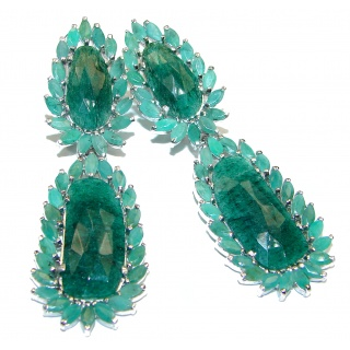 Green Ivy HUGE Emerald .925 Sterling Silver handcrafted Statement Earrings