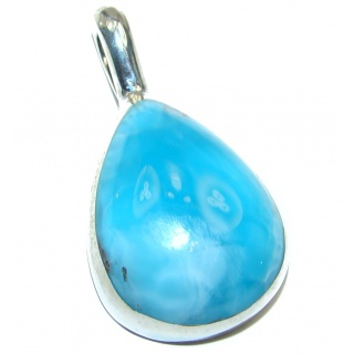 Authentic Dominican Larimar .925 Sterling Silver handmade pendant