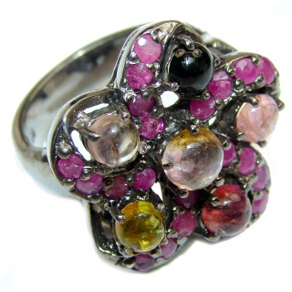Natural Watermelon Tourmaline black rhodium over .925 Sterling Silver Statement ring size 8 1/2