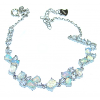 Natural precious Ethiopian Opal .925 Sterling Silver handcrafted Bracelet
