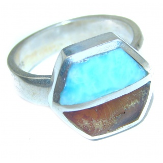 Perfect Together genuine Larimar Amber .925 Sterling Silver handmade Ring s. 8