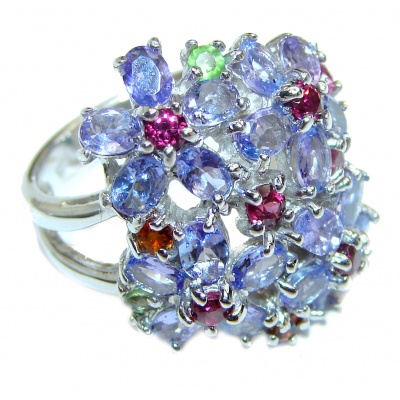 Bouquet of Flowers Authentic Tanzanite .925 Sterling Silver handmade Ring s. 7