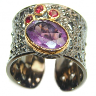 Large Victorian Style genuine Amethyst .925 Sterling Silver handcrafted Ring size 7 adjustable
