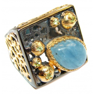 Vinatge Design Aquamarine 18K Gold over .925 Sterling Silver handmade ring s. 8