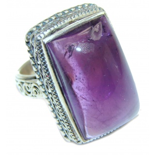 Large Spectacular genuine 68ctw Amethyst .925 Sterling Silver handcrafted Ring size 8