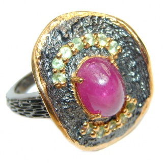 Genuine Ruby 18K Gold .925 Sterling Silver handcrafted Statement Ring size 8