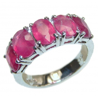 Genuine Ruby .925 Sterling Silver handcrafted Statement Ring size 7