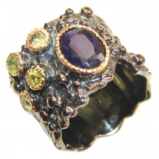 Secret Beauty Sapphire black rhodium over .925 Sterling Silver handcrafted ring size 7 1/4
