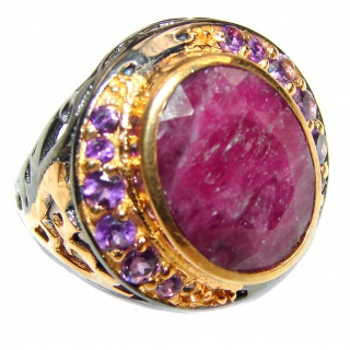 Vintage Beauty genuine Ruby 18K Gold over .925 Sterling Silver Statement handcrafted ring; s. 7