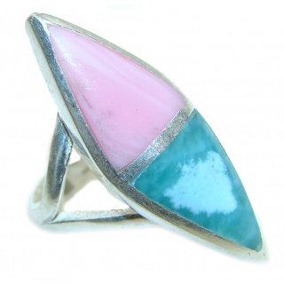 Pink Opal Turquoise oxidized .925 Sterling Silver handcrafted ring size 6 1/2