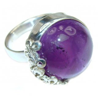 Large Spectacular genuine 68ctw Amethyst .925 Sterling Silver handcrafted Ring size 7