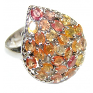 Huge Natural Multicolor Sapphire .925 Sterling Silver Statement ring size 8 1/2