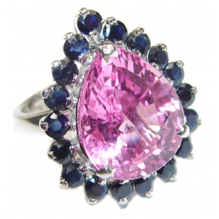 Large Mesmerizing Pink Quartz Sapphire .925 Silver handcrafted Ring s. 7 3/4