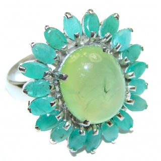 Large Natural Moss Prehnite .925 Sterling Silver handmade ring s. 8